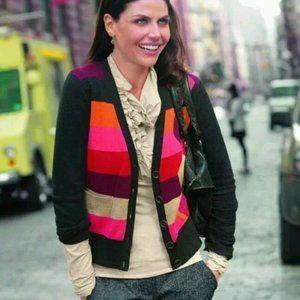 CAbi Colorblock Argyle Long Sleeve Cardigan L